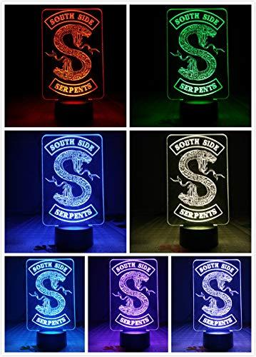 Riverdale Snake Logo Tischlampe Schlafzimmer Dekor Touch Sensor 7 Farbwechsel Riverdale South Side Serpents Nachtlicht LED Frauen
