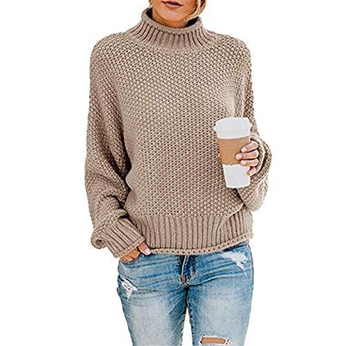 Mujer Jersey de Punto de Invierno Elegante Suéter de Cuello Alto Manga Larga Suelto Jumper Tops,Caqui 1,S