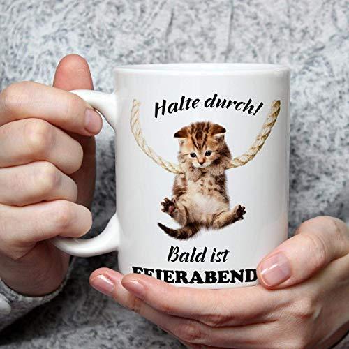 Geschenk Tasse Katze lustig mit Spruch Halte Durch Katzenmotiv Geburtstagsgeschenk für Arbeit Büro Katzenliebhaber Frauen Freundin Kollegin