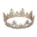 Lurrose Reina barroca corona rhinestone tiaras de boda retro crystal hair jewelry decoración para mujeres niñas princesa nupcial