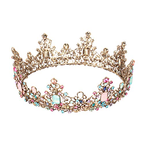 Lurrose Reina barroca corona rhinestone tiaras de boda retro crystal hair jewelry decoración...