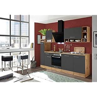 respekta Kitchen Unit Kitchenette Kitchen Block Fitted Kitchen 250 CM Wild Oak Grey:Kisaran