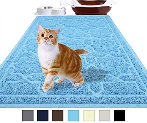 Yimobra Durable Cat Litter Mat, XL Jumbo 35.4 x 23.6 Inches, Easy Clean Cat Mats, Non-Slip, Water Resistant,Traps for Litter Boxes, Pet Litter Floor Mats, Soft, No Phthalate, Sky Blue