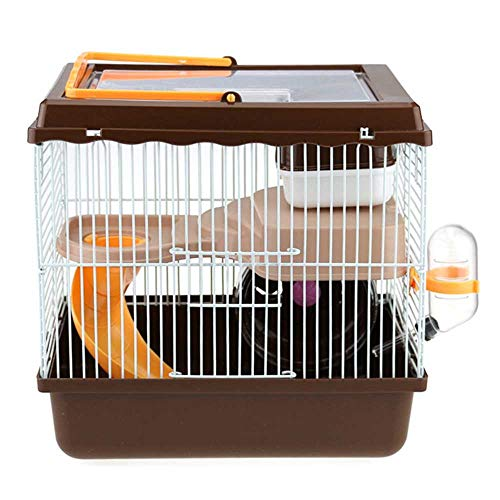 Kleine Vrienden Savoy Gerbilarium Cage with Accessories, Rat Knaagdieren Konijnenhok Ferret Chinchilla Platform Feeding Habitat Base Ladder,Brown