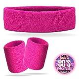 TK Gruppe Timo Klingler 3 in 1 Schweißband pink Set mit Stirnband - als Accessoire Kostüm zu Retro...