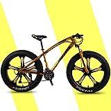 """Mountain bike da 26 """"per pneumatici grassi a 24 velocità Mountain bike per tutti i terreni Bicicletta con doppio freno a disco Bicicletta in acciaio ad alto tenore di carbonio,D'oro,26"""" 27 speed"""