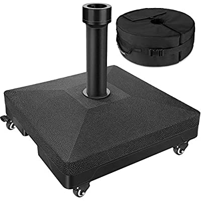 Patio Rolling Umbrella Base with 4 Rotatable Wheels & Sturdy Weight Bag, Up to 88 Lbs, Heavy Duty Outdoor Stand Water Filled, Pole Holder for 6~9 Ft Market Umbrella, Rust Free & Weather-resistant