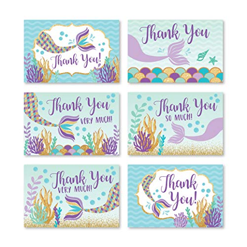 24 Mermaid Baby Shower Thank You Cards With Envelopes, Kids Thank-You Note, 4x6 Gratitude Card Gift For Guest Pack For Party, Birthday, For Boy or Girl Children, Cute Sea Pool Event Stationery
