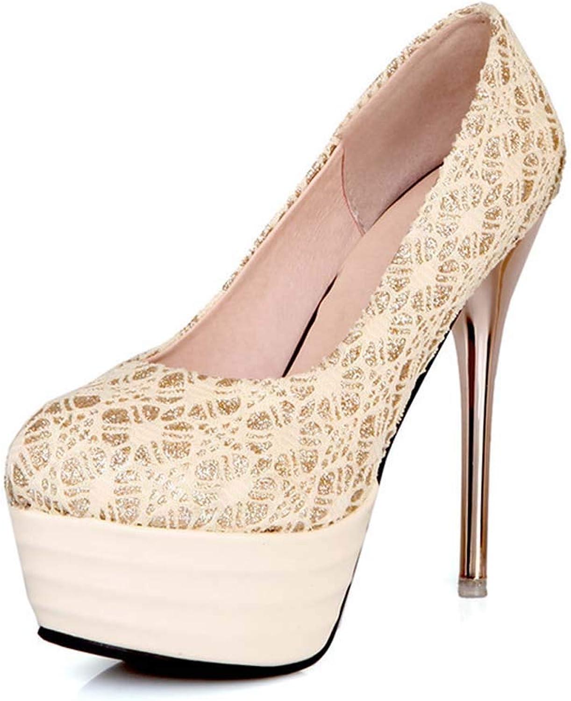 Women Platform Pumps Spring Autumn Charming Nightclub Super High Heel Wedding shoes 32-43