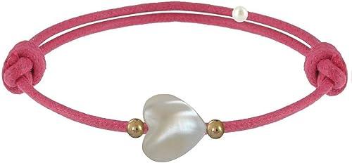 LES POULETTES BIJOUX - Bracelet Lien Petit Coeur de Nacre et Perle Plaqué Or - Colors
