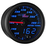 MaxTow Double Vision 280 F Water Coolant Temperature Gauge Kit - Includes Electronic Sensor - Black Gauge Face - Blue LED Illuminated Dial - Analog & Digital Readouts - for Trucks - 2-1/16' 52mm