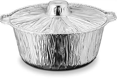 Propack Aluminum Disposable Pots With Lids Medium 4 Quarts Pack of 2 Disposable Aluminum pots