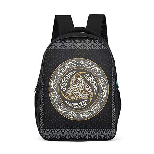 Mochila ligera de triple cuerno de Odin Viking para niños, con compartimentos para la escuela