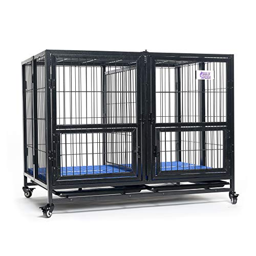 BULLY PEDEX - Stackable K9 Crate - Kennel for Dog & Puppy Training - Heavy Duty Metal Wire Cage with Locking Wheels - Black - Large