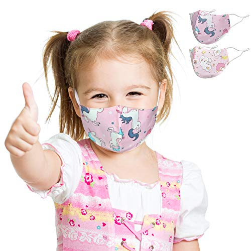 2er-Set Mund und Nasenschutz für Kinder | Stoff-Maske Mundschutz Waschbar Wiederverwendbar Motiv Lustig Bunt | Einhorn Prinzessin Glücks-Fee Rosa (2 x 1 Stück)