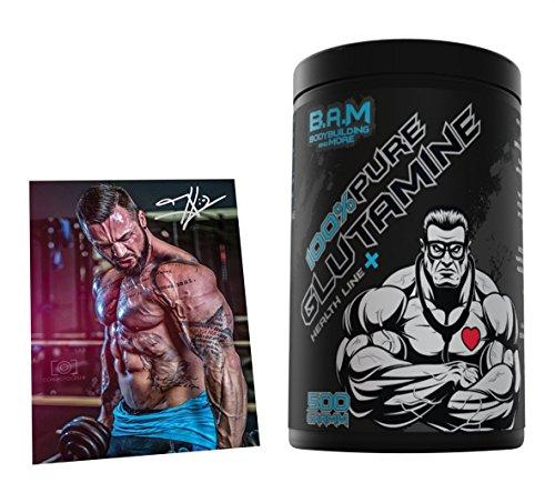 Fan Edition B.A.M. 100% Pure L-Glutamin Aminosäure Aminos Supplement Fitness Bodybuilding 500g…