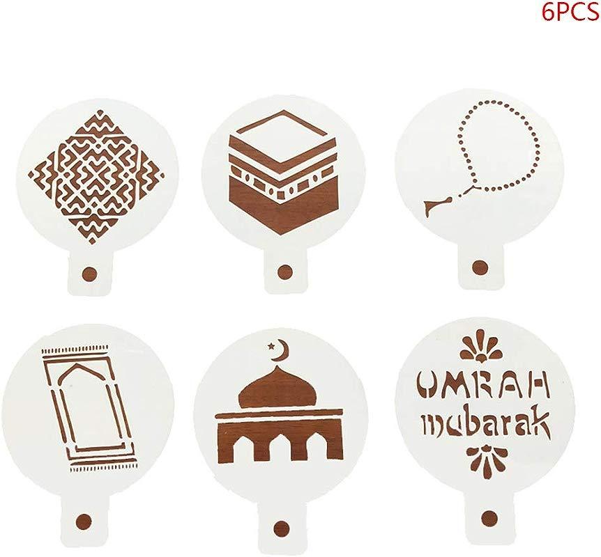 Cici Store 8 Pcs Set Eid Mubarak Ramadan Plastic Coffee Spray Stencils DIY Mould Cake Mold Decorating Template 6Pcs Set