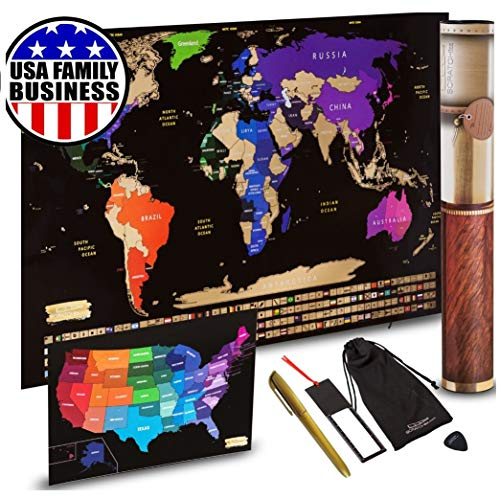 Scratch off World Map + Scratch off USA Map Travel Poster | US States And World Country Flags Detailed In Large 30' x 17' Size Scratchable Tracker Poster | Premium Wall Art Decor Set For Travelers