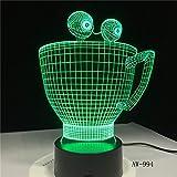 lampara 3D Pared Lámpara Modelo Taza Creativa 16 Cambios de Color Interruptor táctil y Remoto Navidad