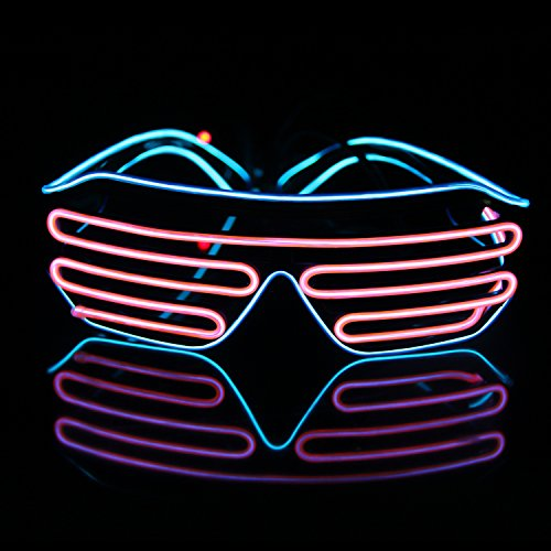 Light Up EL Wire Neon Shutter Glasses Flashing LED Rave Sunglasses for 80s, EDM, Parties Decorations(Blue+Pink)
