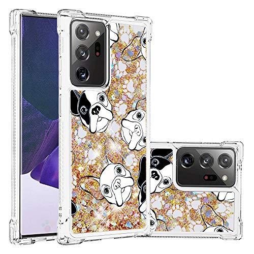 Miagon Flüssig Hülle für Samsung Galaxy Note 20 Ultra,Glitzer Weich Treibsand Handyhülle Glitter Quicksand Silikon TPU Bumper Schutzhülle Case Cover-Hund