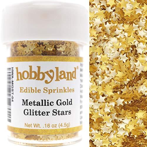 Hobbyland Edible Sprinkles (Metallic Gold Glitter Stars, 4.5g)