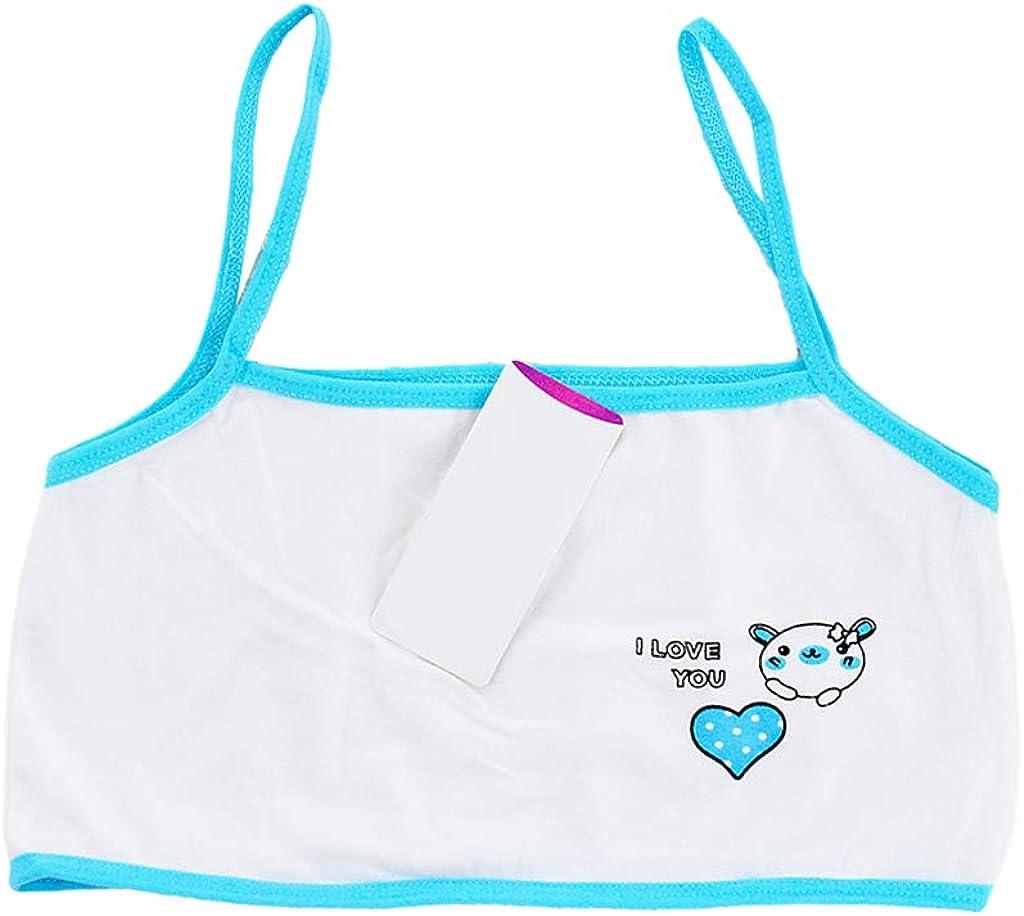 Horoshop Young Girls Training Bra, Cartoon Bear Heart Print Cotton Wireless Bralette Vest 6-14T