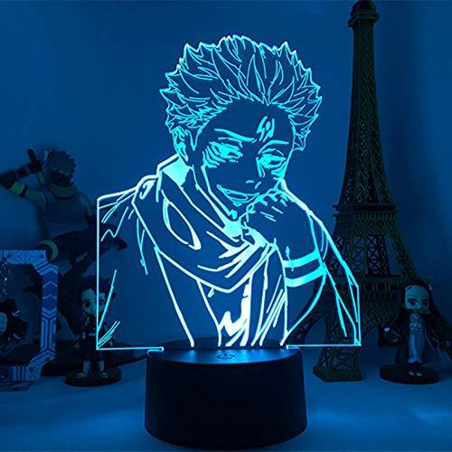 DUYAO00 - Lámpara led 3D con forma de anime, color negro, para decoración de dormitorio o niños, regalo de cumpleaños