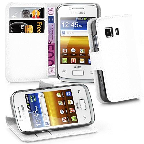 Cadorabo Hülle für Samsung Galaxy Young 2 - Hülle in ARKTIS WEIß – Handyhülle mit Kartenfach und Standfunktion - Case Cover Schutzhülle Etui Tasche Book Klapp Style