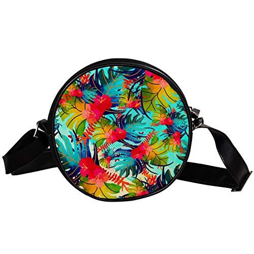 Bandolera redonda pequeña bolso de mano para mujer, bolso de hombro de moda, bolso de mensajero de lona, bolsa de cintura, accesorios para mujeres-Tropical Blue Leaf