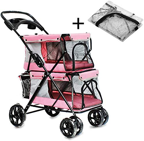 DSHUJC Opvouwbare Cat Travel Puppy Jogger Trolley-drager met bekerhouder, 4-wielige dubbele kinderwagen met regenhoes, max. Belasting 20 kg