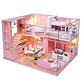 Hongzer Kit de casa de muñecas Rosa de Bricolaje, Kits de Modelo de casa de muñecas de Loft de Madera en Miniatura Rosa Hecha a Mano de Bricolaje, Regalo para niñas, Regalos para niños