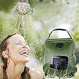 Premium 20L Calefacción solar Ducha de camping Bolsa de agua para agua caliente con termómetro de temperatura 45 ° C - Manguera extraíble Cabezal de encendido / apagado - Para acampar Senderismo B