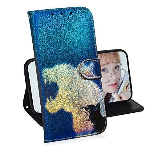 Glitzer Brieftasche Hülle für iPhone 6 Plus / 6S Plus,Miagon Änderung Farbe Tier Gemalt PU Leder Faltbare Flip Case mit Kartenhalter Standfunktion,Leopard Katze