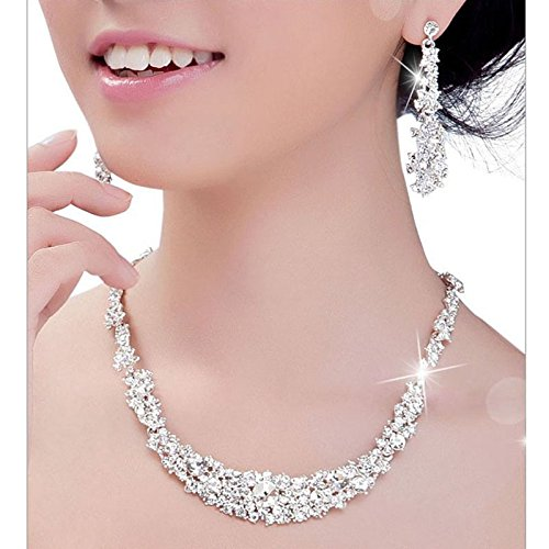 SUIKI Necklace for Women - Jewelry Sets for Women Rhinestone Crystal Necklace and Earrings Jewelry Set Gifts fit with Wedding Dress for Valentine