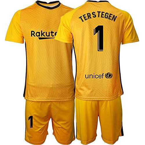 Camiseta Futbol Portero Fútbol Jersey # 1 TER Stegen Camiseta Sudadera Transpirable Regalos para La Familia (Color : Amarillo, Size : L)
