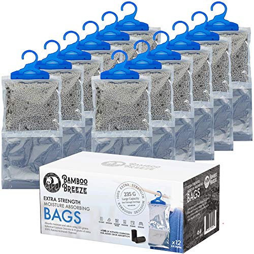 Yogi Brand (12 Pack) Moisture Absorber Bag, Fragrance Free, Dehumidifier Bag, Hanging Closet Dehumidifier Bags, Moisture Absorbers 235g with 10g Activated Charcoal