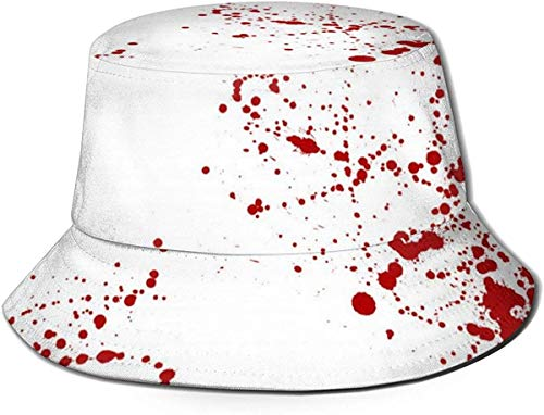 Sombreros de cubo transpirables con parte superior plana Unisex Gambling Poker Naipes Traje Sombrero de cubo Sombrero de pescador de verano-Diseño de arte con salpicaduras de sangre-Talla única