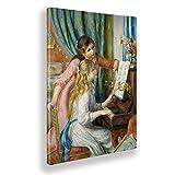Giallobus - Pinturas - Pierre Auguste Renoir - Dos niñas al Piano - Lienzo - 50x70 - Listo para Colgar - Cuadros Modernos para el hogar