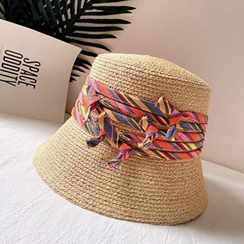 Sombrero de paja bohemio sombrero de protección solar de verano para mujer nudo de cuerda cinta cuenca sombrero balneario Feng Shui sombrero de cubo-rojo
