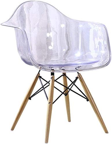 Chaise Fauteuil Siège Chaises Chair Salon De Bureau De Loisirs en Plastique Transparent en Bois Massif ZHANGAIZHEN (Couleur   Transparent blanc)