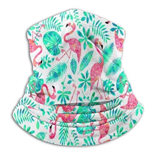 ShiHaiYunBai Tour de Cou Cagoule Microfibre Chapeaux Tube Masque Visage, Fleece Neck Warmer - Flamingo Jungle Watercolor White Mint Neck Gaiter Tube, Bandana, Headband & Beanie