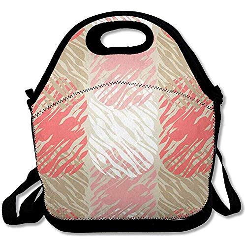 Tote Cooler Bag Geïsoleerde Adult Doodle Polka Dot Scribble Abstract Ballonnen Patroon Blouse Boho Border Canvas Ontwerp Retroe Herbruikbare Lunch Tote Box voor Kantoor