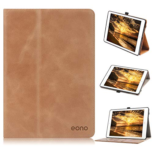 Eono Hülle für iPad 10.2 (iPad 8 und 7 Generation), Premium Echt Leder Ghülle Stand Schutzhülle Cover mit Auto Schlaf/Wach Funktion,für 10.2 2020 und 2019, iPad Air 3 2019, iPad Pro 10.5 2017, Braun