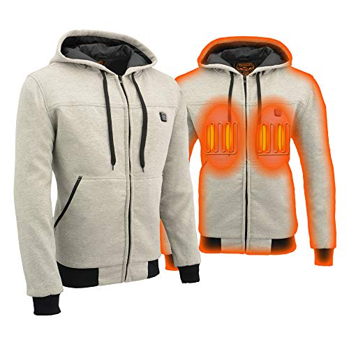 Milwaukee Leather MPM1714SET Men's Silver Zipper Front Heated Hoodie with Included Battery Pack - Medium