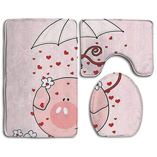 BOBO-Shop badmat set, 3-delig, roze varken met paraplu-opdruk antislip badmat + toiletbrilhoes + contourmat