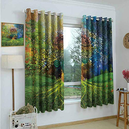Window Curtains,Tree in The Valley with Spiral Branch Balance in Mother Earth Zen Art Illustration,Green Blue,Tie Up Window Drapes Living Room 52'x63'