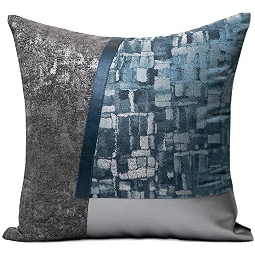 Cojín de cojín 45 cm x 45 cm / 18x18 pulgadas -Blue, negro y plateado Cosquillas de contraste de cuero patrón irregular Fundas de almohada con sofá cuadrado interno Silla de cintura de la cintura de l