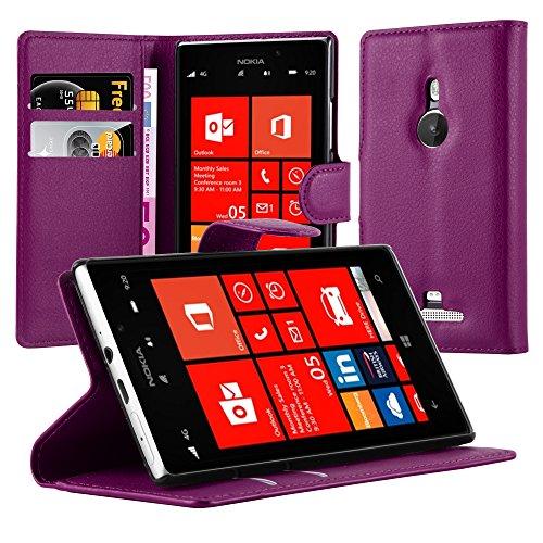 Cadorabo Hülle für Nokia Lumia 925 - Hülle in Mangan VIOLETT – Handyhülle mit Kartenfach und Standfunktion - Case Cover Schutzhülle Etui Tasche Book Klapp Style