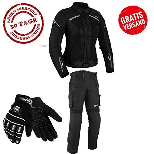 DAMEN MOTORRADKOMBI JACKE + HOSE + HANDSCHUHEN - BIKE MOTORRAD ROCKER TOURING (L)